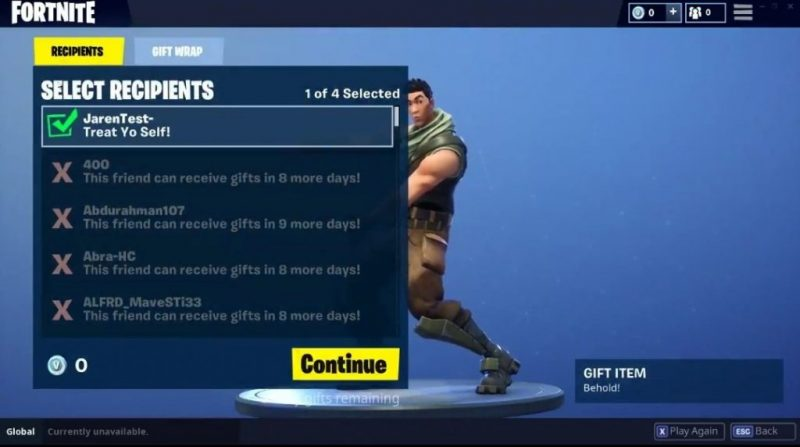 Fornite's gifting system: Details, rules, and screenshots 2