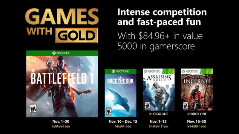 Xbox Live Games with Gold - Battlefield 1 and Assassin's Creed 8