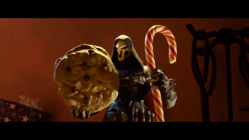 Overwatch's Reaper and Tracer fight over Santa's cookies in Cookiewatch 1