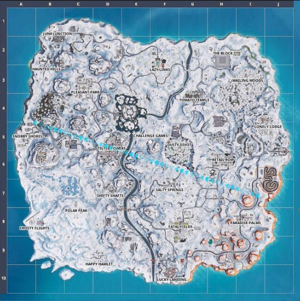 Fortnite's map is now completely covered in snow 4