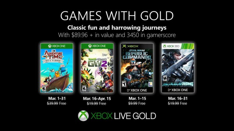 Games with Gold revealed for March.