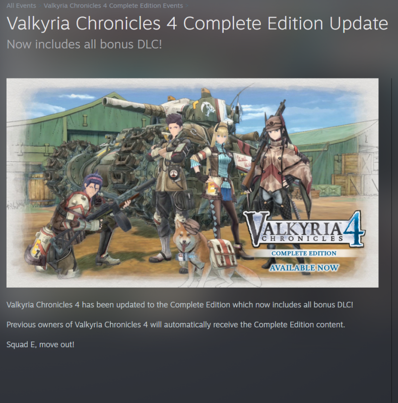 Valkyria Chronicles 4 now has all DLC included; Free DLC for current owners 2